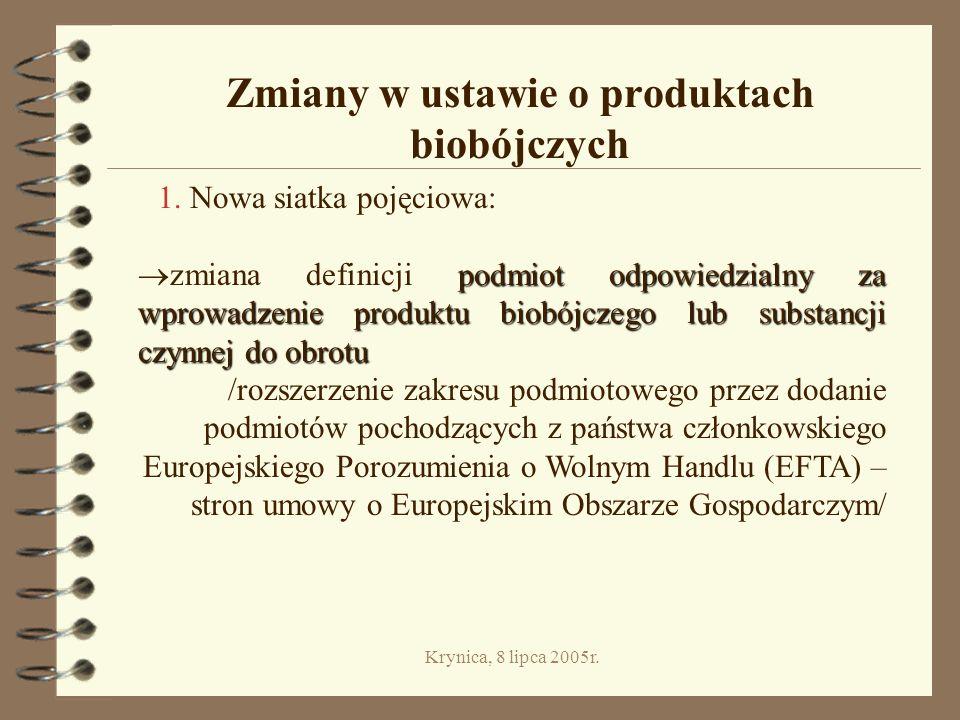 Krynica, 8 lipca 2005r.Zmiany w ustawie o produktach biobójczych 1.