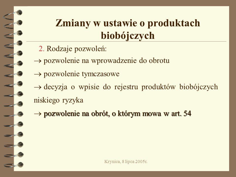 Krynica, 8 lipca 2005r.Zmiany w ustawie o produktach biobójczych 2.