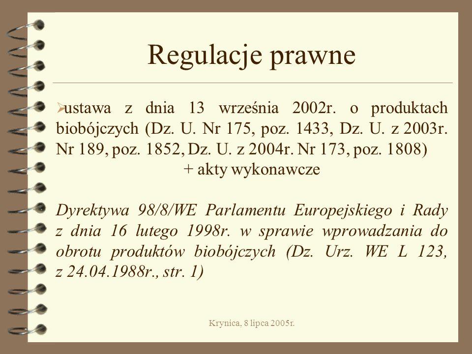 Krynica, 8 lipca 2005r.Regulacje prawne ustawa z dnia 13 września 2002r.