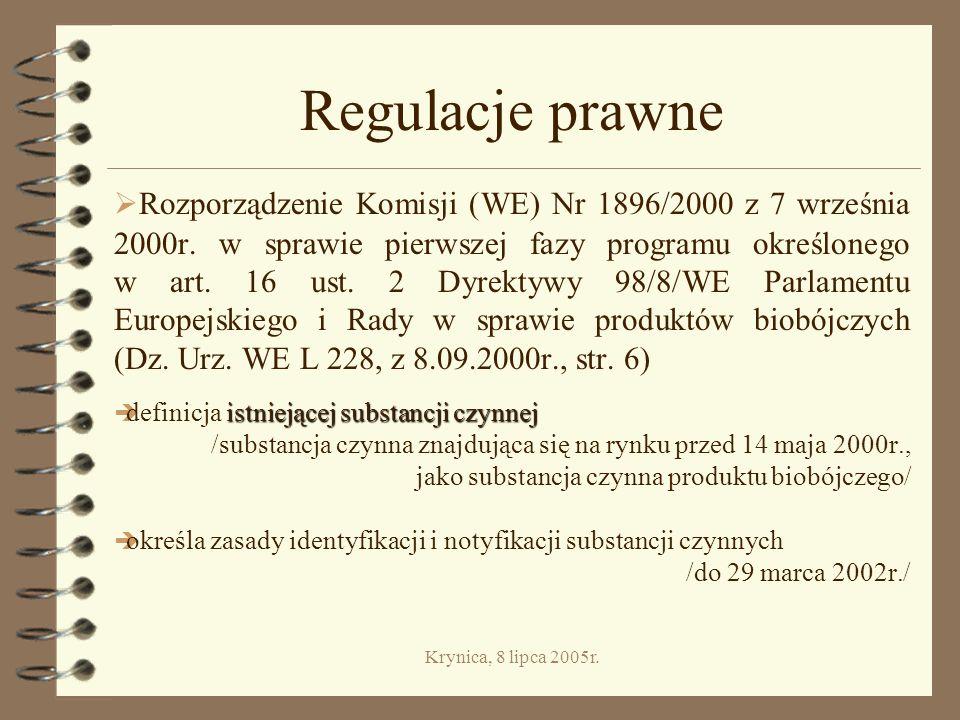 Krynica, 8 lipca 2005r.Kategoria II. Produkty konserwujące 4 Grupa 6.