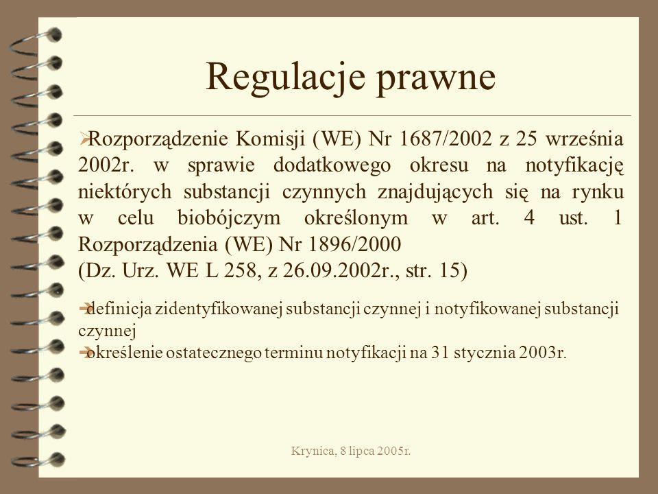 Krynica, 8 lipca 2005r.Kategoria III. Produkty biobójcze do zwalczania szkodników 4 Grupa 14.