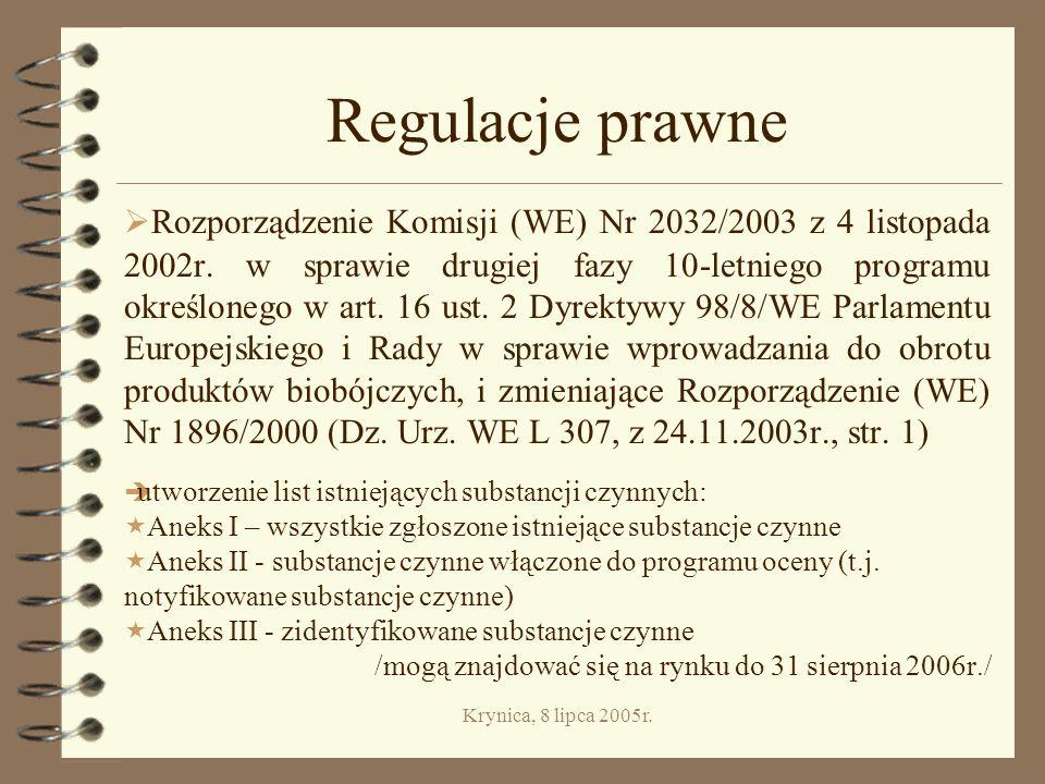 Krynica, 8 lipca 2005r.Kategoria VI. Inne produkty biobójcze Grupa 20.