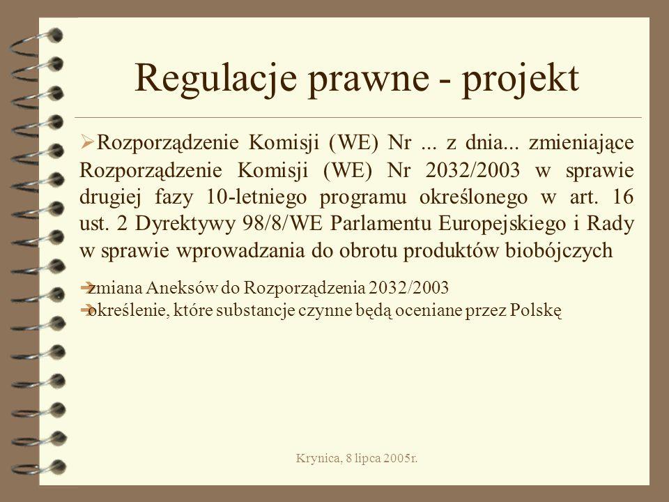 Krynica, 8 lipca 2005r.Regulacje prawne - projekt Rozporządzenie Komisji (WE) Nr...
