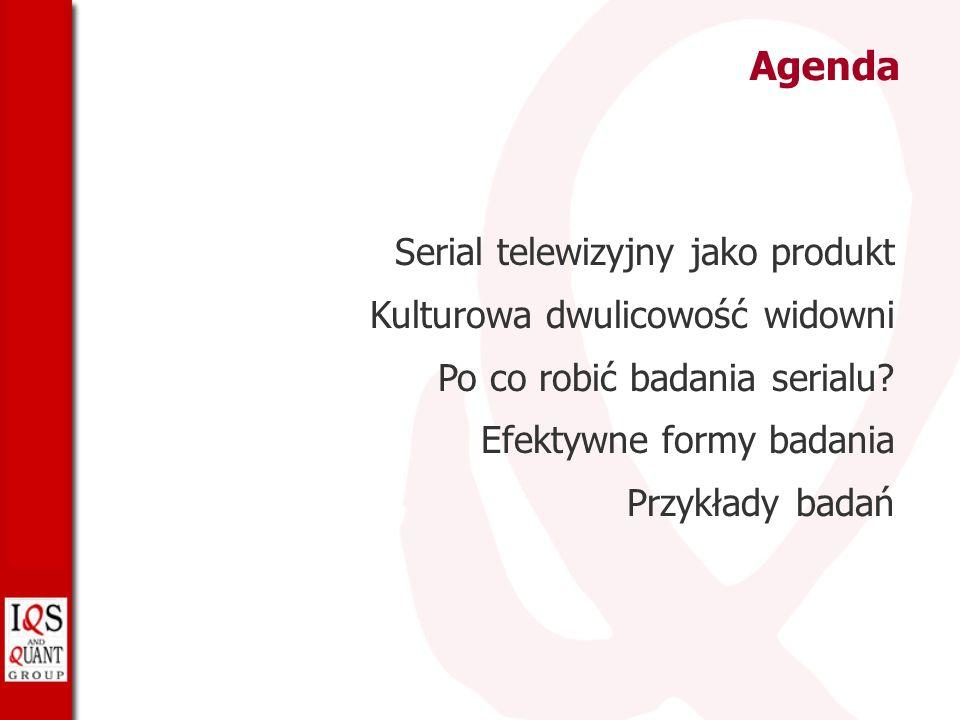 Agenda Serial telewizyjny jako produkt Kulturowa dwulicowość widowni Po co robić badania serialu.