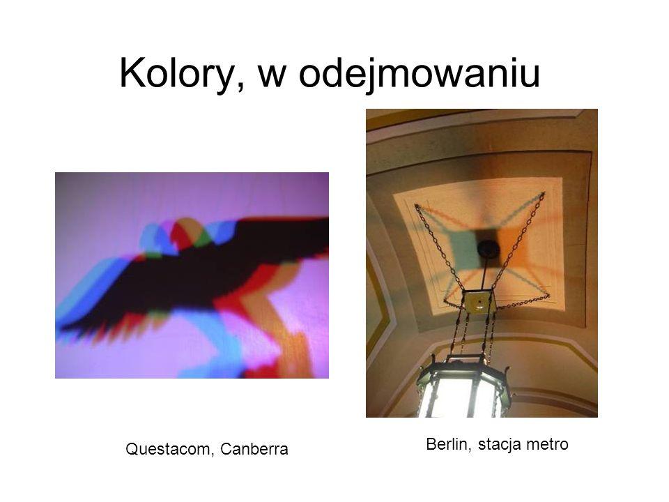 Kolory, dopełniające Wystawa sklepowa w Berlinie: żaden z tych kolorów nie występuje w tęczy! (no, może oprócz żółtego) W plastikowym pudełku od płyty
