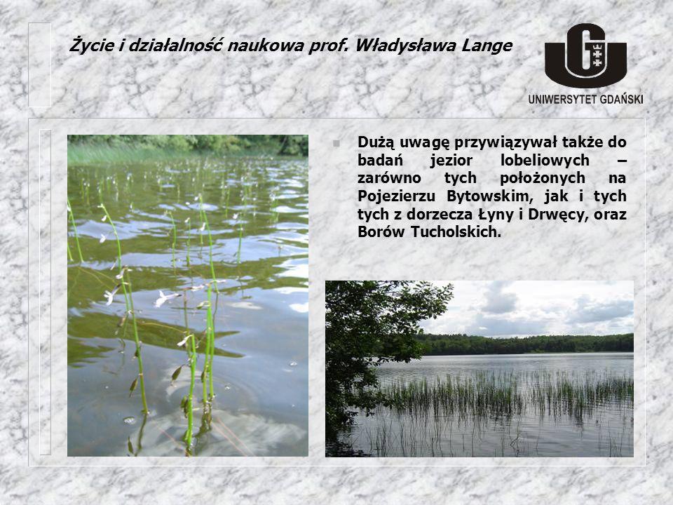 n Dużą uwagę przywiązywał także do badań jezior lobeliowych – zarówno tych położonych na Pojezierzu Bytowskim, jak i tych tych z dorzecza Łyny i Drwęc