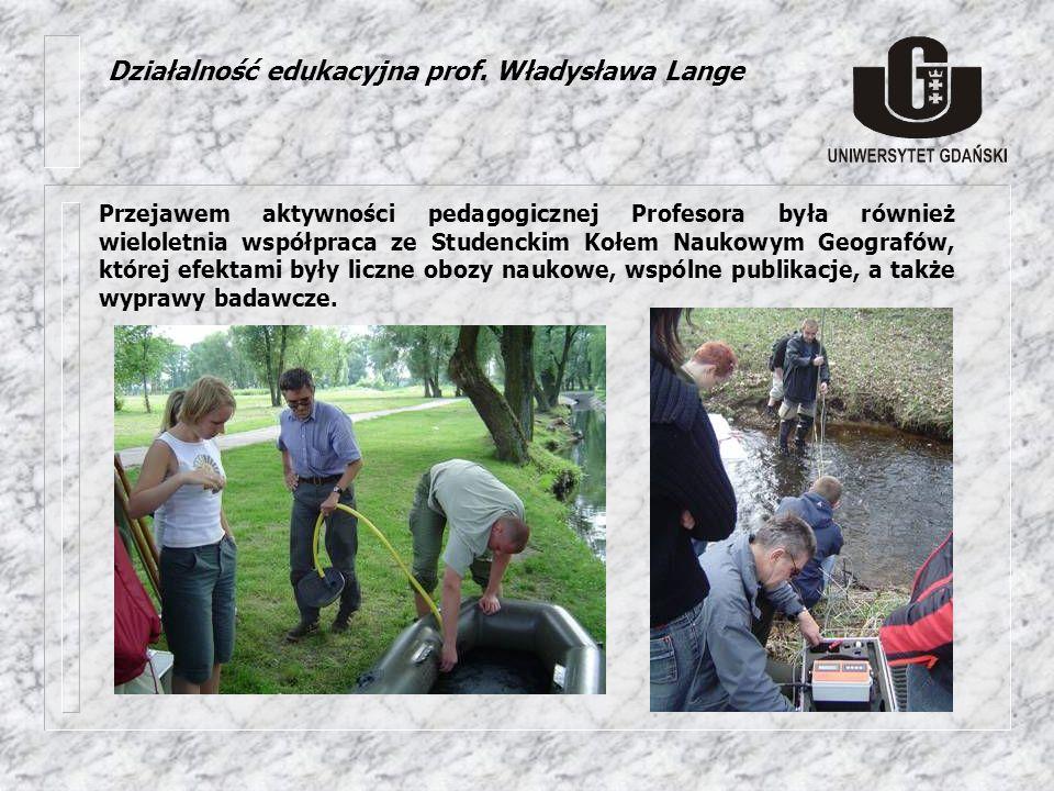 Działalność edukacyjna prof. Władysława Lange Przejawem aktywności pedagogicznej Profesora była również wieloletnia współpraca ze Studenckim Kołem Nau