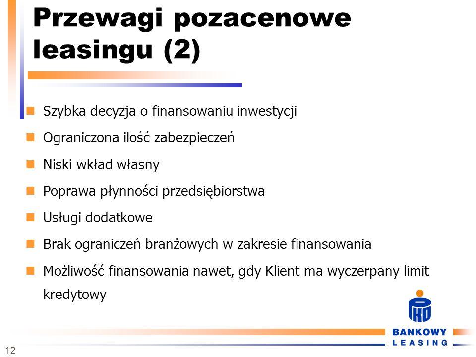 12 Przewagi pozacenowe leasingu (2) Szybka decyzja o finansowaniu inwestycji Ograniczona ilość zabezpieczeń Niski wkład własny Poprawa płynności przed