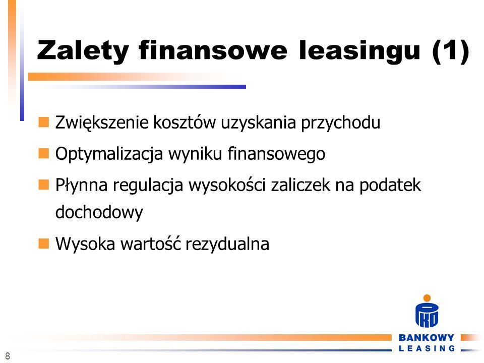 8 Zalety finansowe leasingu (1) Zwiększenie kosztów uzyskania przychodu Optymalizacja wyniku finansowego Płynna regulacja wysokości zaliczek na podate