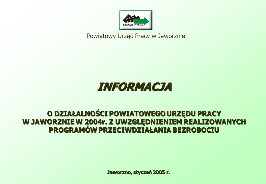 Powiatowy Urząd Pracy w Jaworznie INFORMACJA O DZIAŁALNOŚCI POWIATOWEGO URZĘDU PRACY W JAWORZNIE W 2004r.