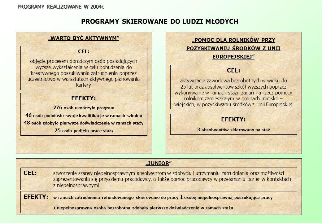 PROGRAMY SKIEROWANE DO LUDZI MŁODYCH PROGRAMY REALIZOWANE W 2004r.