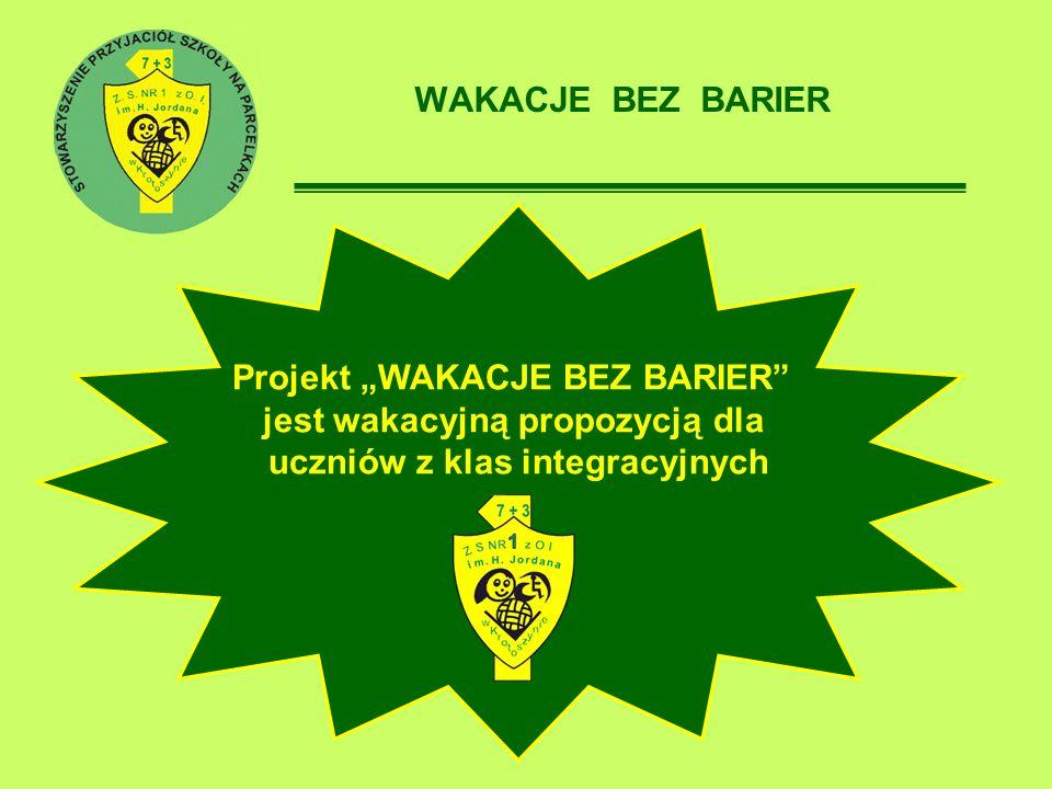 WAKACJE BEZ BARIER Projekt WAKACJE BEZ BARIER jest wakacyjną propozycją dla uczniów z klas integracyjnych