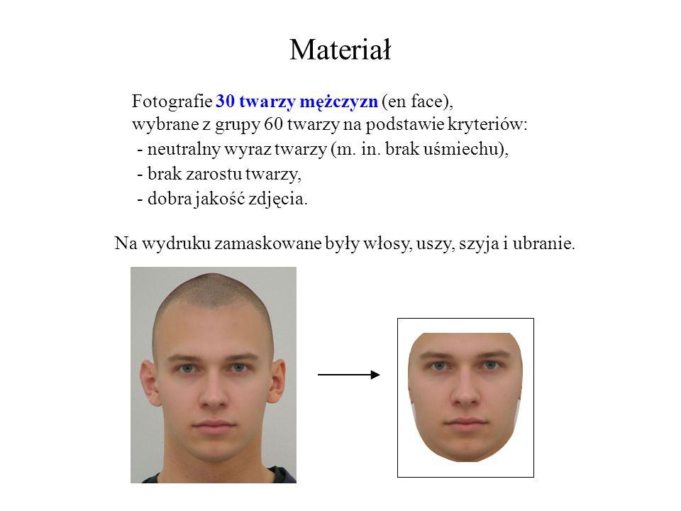 Materiał Fotografie 30 twarzy mężczyzn (en face), wybrane z grupy 60 twarzy na podstawie kryteriów: - neutralny wyraz twarzy (m. in. brak uśmiechu), -