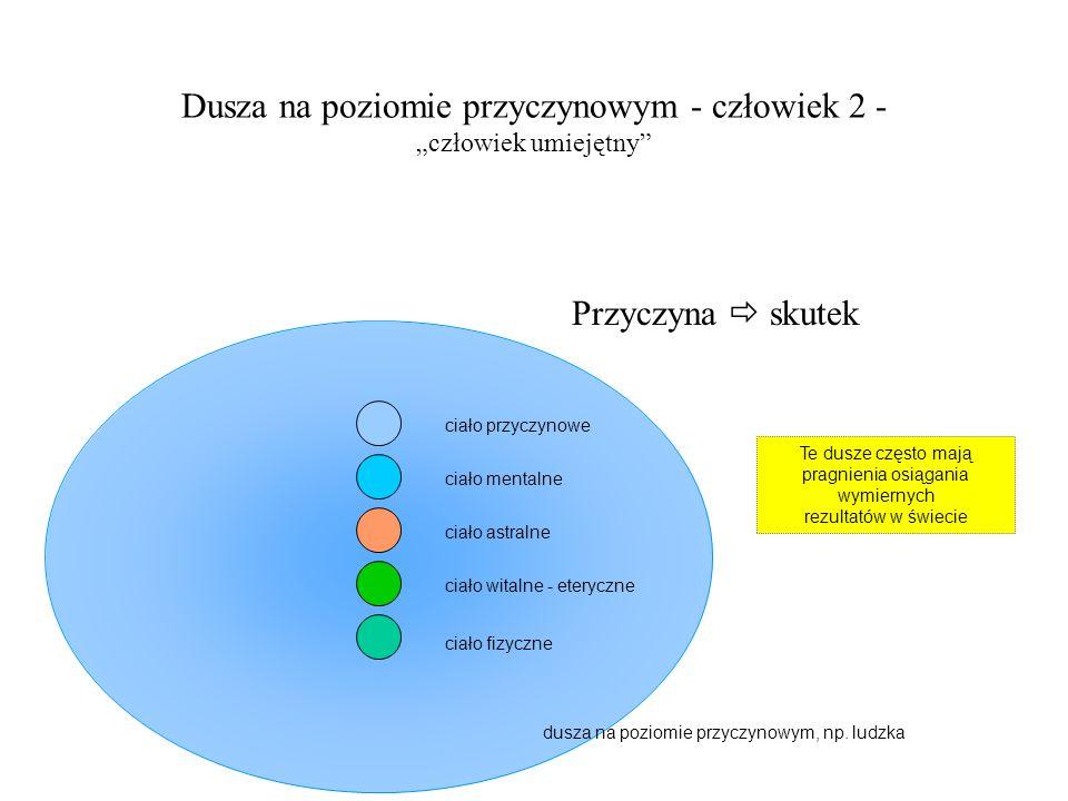 dusza na poziomie przyczynowym, np. ludzka Dusza na poziomie przyczynowym - człowiek 2 - człowiek umiejętny ciało fizyczne ciało witalne - eteryczne c