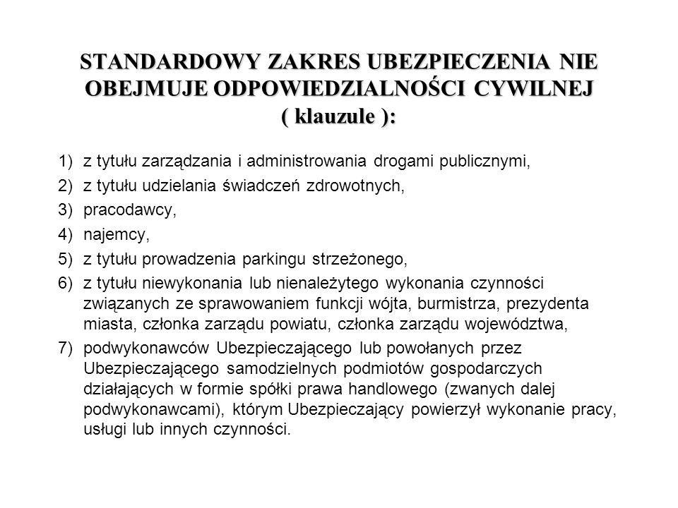 STANDARDOWY ZAKRES UBEZPIECZENIA NIE OBEJMUJE ODPOWIEDZIALNOŚCI CYWILNEJ ( klauzule ): 1)z tytułu zarządzania i administrowania drogami publicznymi, 2