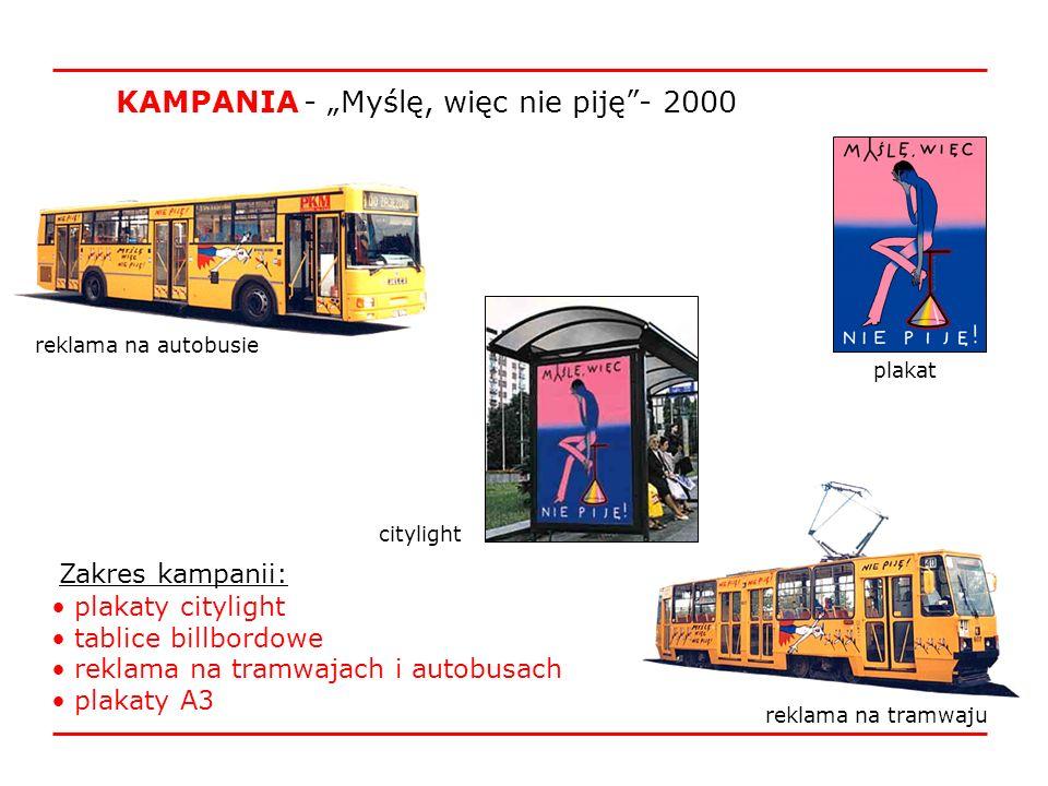 reklama na autobusie reklama na tramwaju citylight Zakres kampanii: plakaty citylight tablice billbordowe reklama na tramwajach i autobusach plakaty A