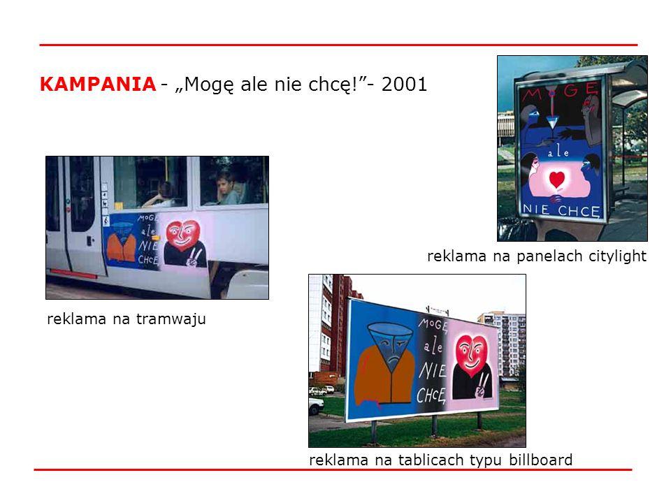 reklama na tablicach typu billboard reklama na panelach citylight KAMPANIA - Mogę ale nie chcę!- 2001 reklama na tramwaju