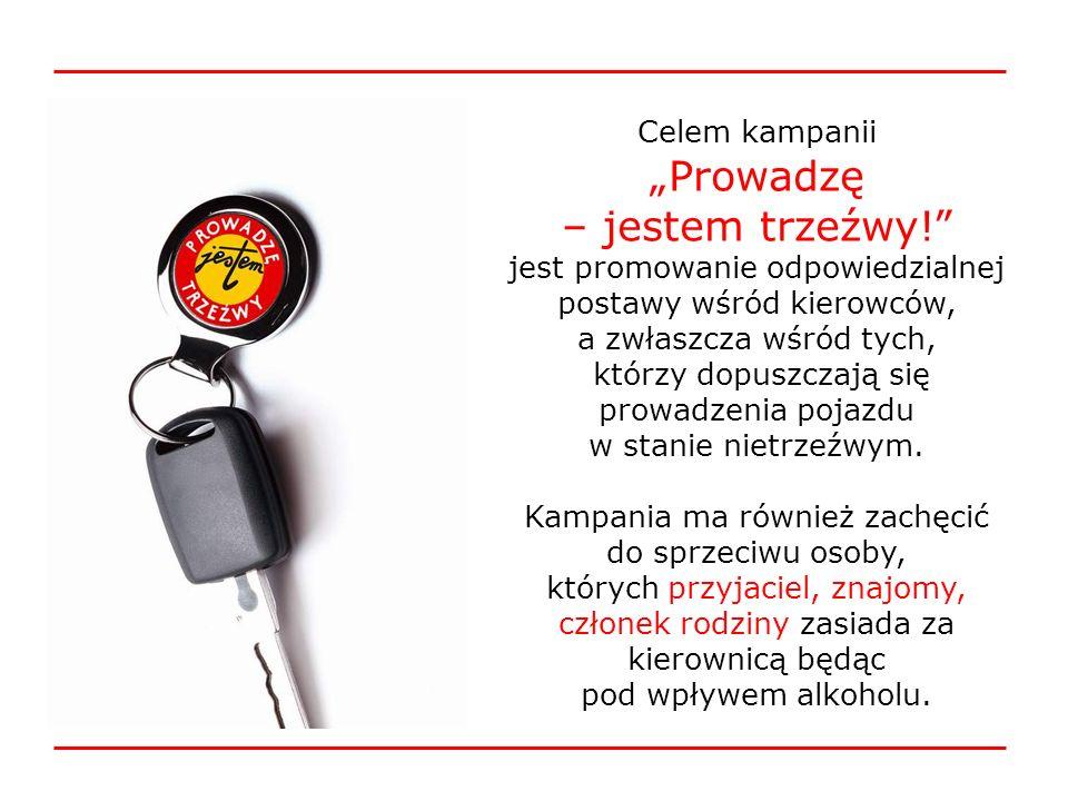 Celem kampanii Prowadzę – jestem trzeźwy! jest promowanie odpowiedzialnej postawy wśród kierowców, a zwłaszcza wśród tych, którzy dopuszczają się prow