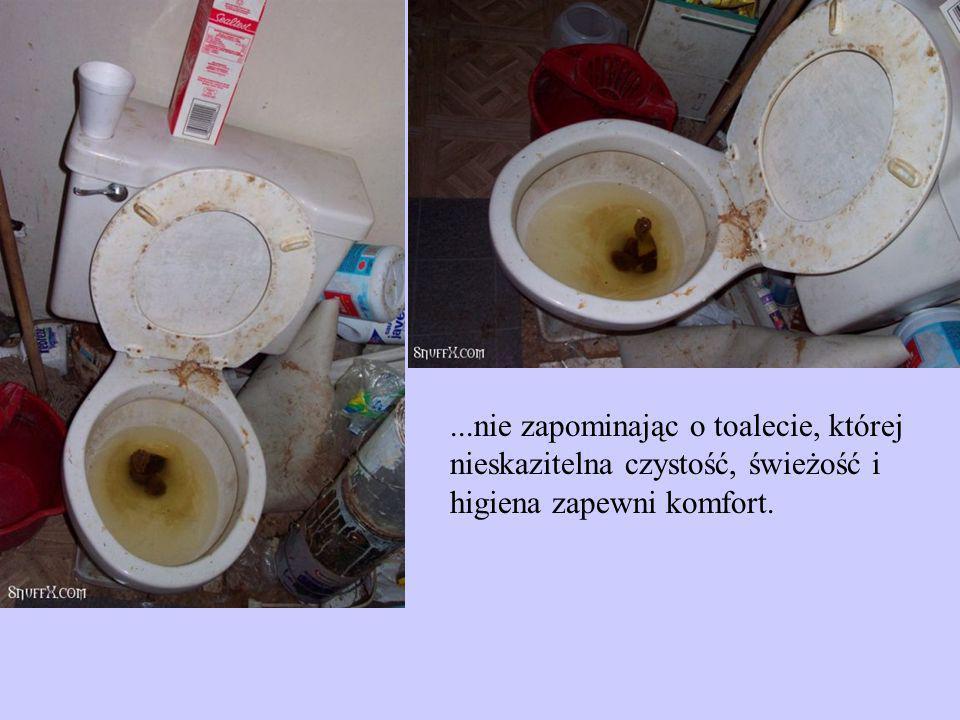 ...nie zapominając o toalecie, której nieskazitelna czystość, świeżość i higiena zapewni komfort.