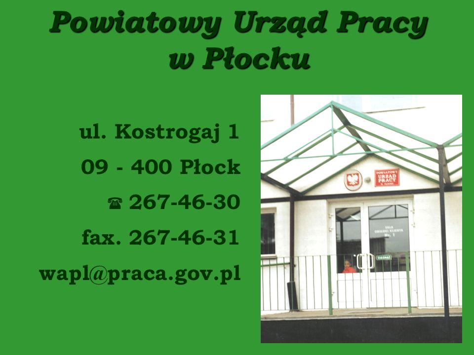 Powiatowy Urząd Pracy w Płocku ul.Kostrogaj 1 09 - 400 Płock 267-46-30 fax.