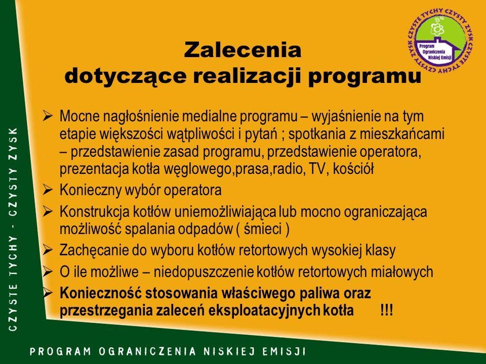 Zalecenia dotyczące realizacji programu Mocne nagłośnienie medialne programu – wyjaśnienie na tym etapie większości wątpliwości i pytań ; spotkania z