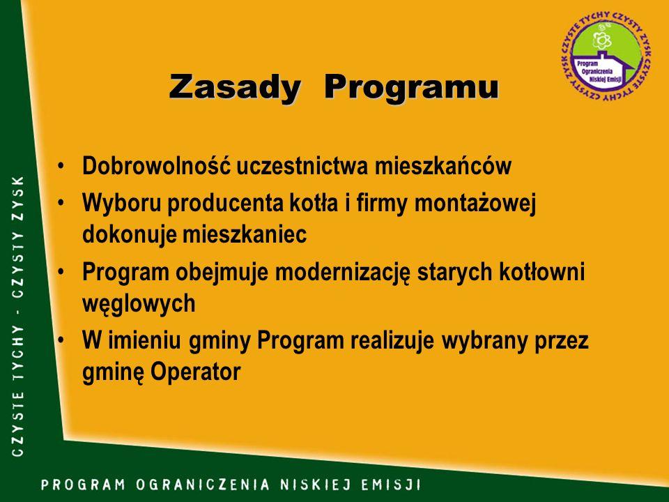 Zasady Programu Dobrowolność uczestnictwa mieszkańców Wyboru producenta kotła i firmy montażowej dokonuje mieszkaniec Program obejmuje modernizację st