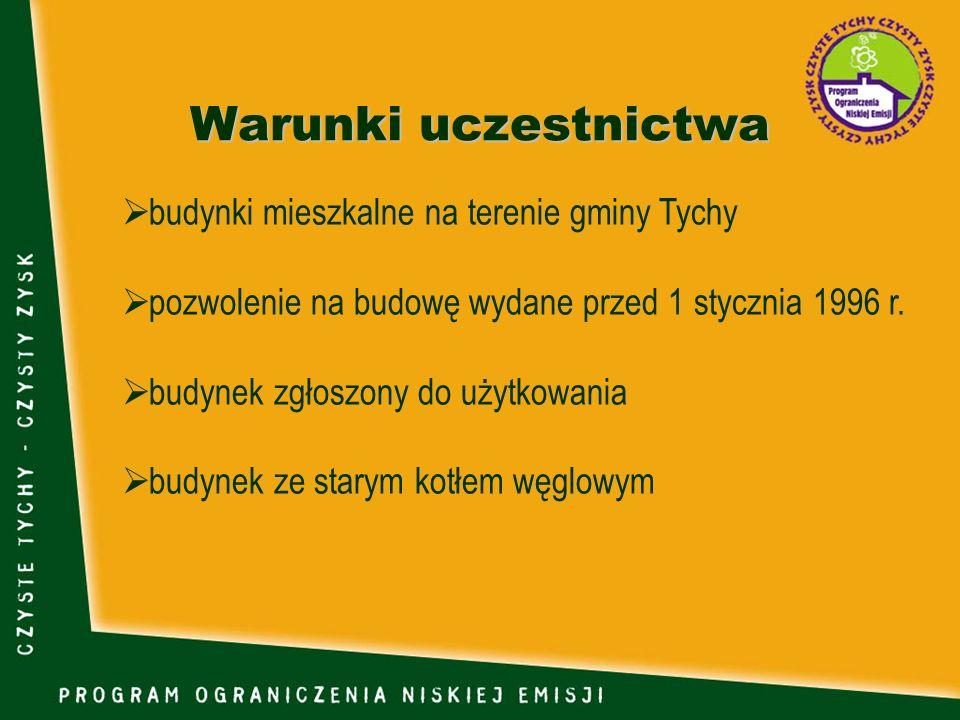 Warunki uczestnictwa budynki mieszkalne na terenie gminy Tychy pozwolenie na budowę wydane przed 1 stycznia 1996 r. budynek zgłoszony do użytkowania b