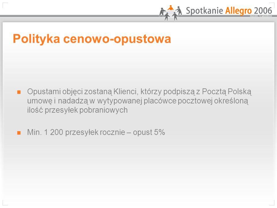Polityka cenowo-opustowa Opustami objęci zostaną Klienci, którzy podpiszą z Pocztą Polską umowę i nadadzą w wytypowanej placówce pocztowej określoną i