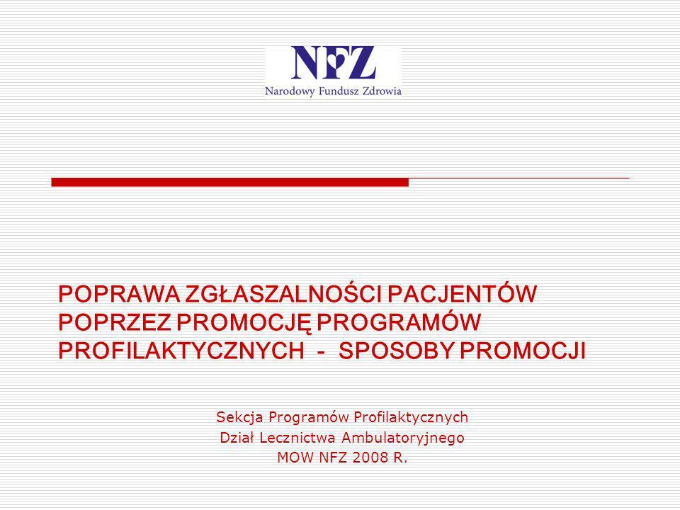 POPRAWA ZGŁASZALNOŚCI PACJENTÓW POPRZEZ PROMOCJĘ PROGRAMÓW PROFILAKTYCZNYCH - SPOSOBY PROMOCJI Sekcja Programów Profilaktycznych Dział Lecznictwa Ambu