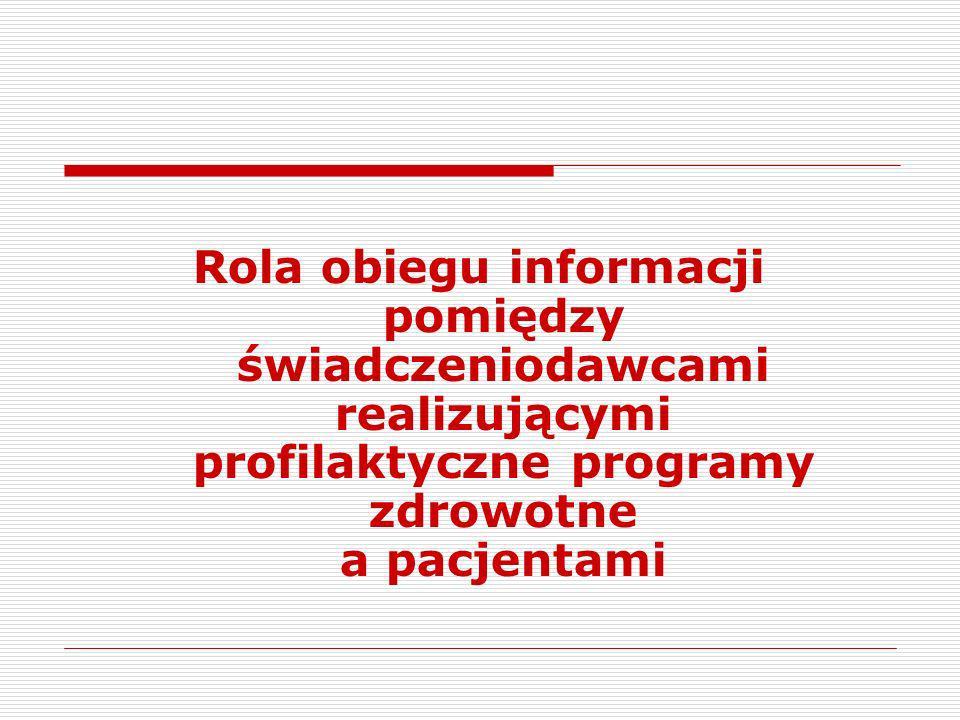 Rola obiegu informacji pomiędzy świadczeniodawcami realizującymi profilaktyczne programy zdrowotne a pacjentami