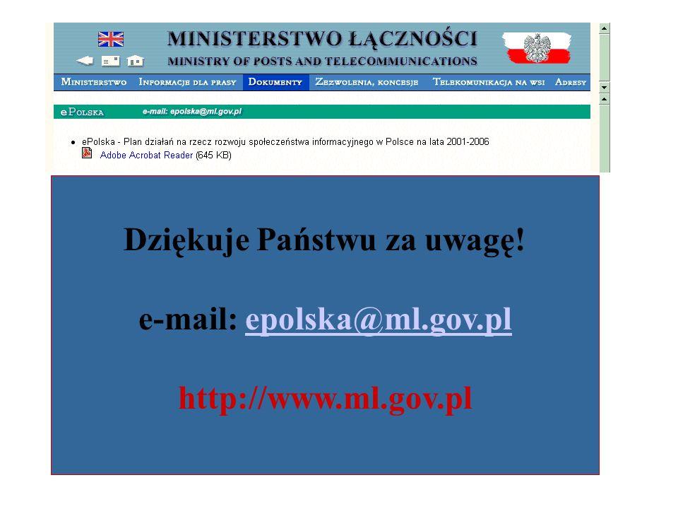 Dziękuje Państwu za uwagę! e-mail: epolska@ml.gov.plepolska@ml.gov.pl http://www.ml.gov.pl