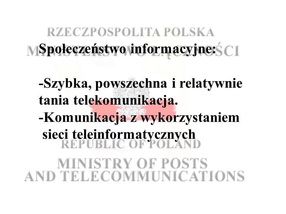 Społeczeństwo informacyjne: -Szybka, powszechna i relatywnie tania telekomunikacja.