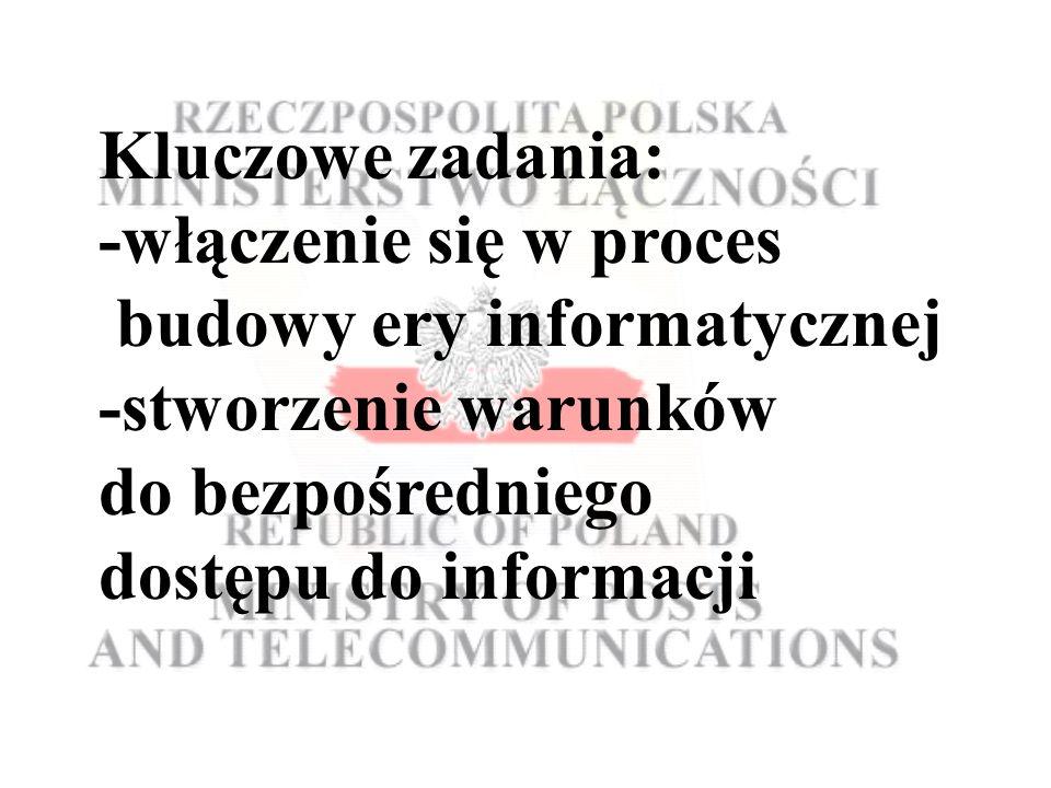 Kluczowe zadania: -włączenie się w proces budowy ery informatycznej -stworzenie warunków do bezpośredniego dostępu do informacji