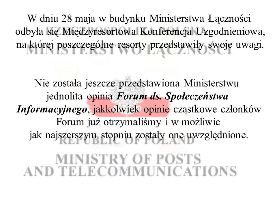 W dniu 28 maja w budynku Ministerstwa Łączności odbyła się Międzyresortowa Konferencja Uzgodnieniowa, na której poszczególne resorty przedstawiły swoje uwagi.