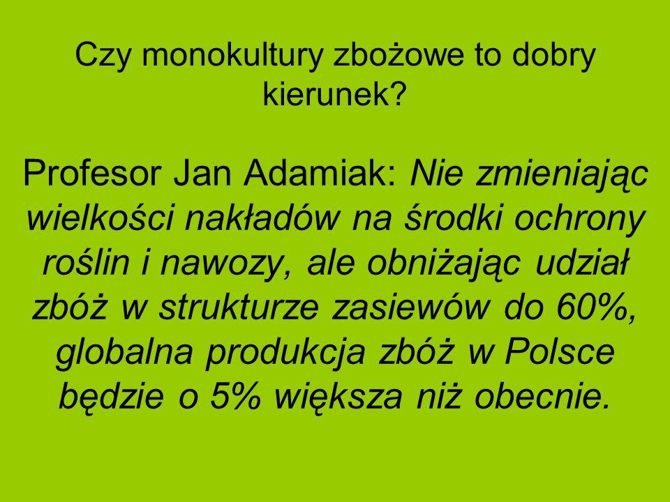 Czy monokultury zbożowe to dobry kierunek? Profesor Jan Adamiak: Nie zmieniając wielkości nakładów na środki ochrony roślin i nawozy, ale obniżając ud