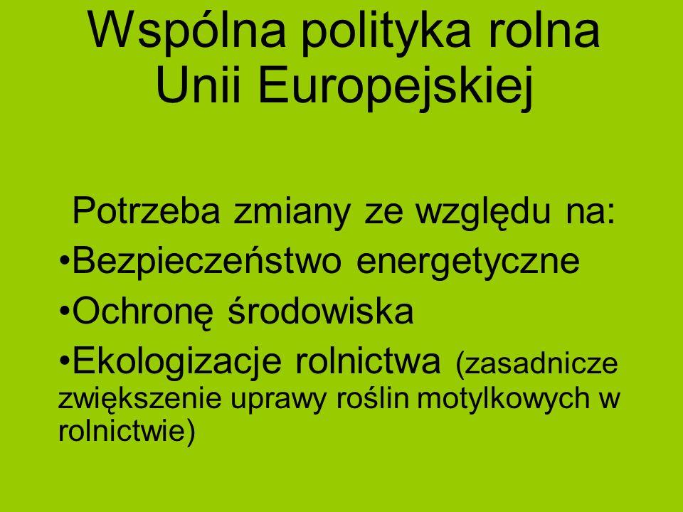 Wspólna polityka rolna Unii Europejskiej Potrzeba zmiany ze względu na: Bezpieczeństwo energetyczne Ochronę środowiska Ekologizacje rolnictwa (zasadni