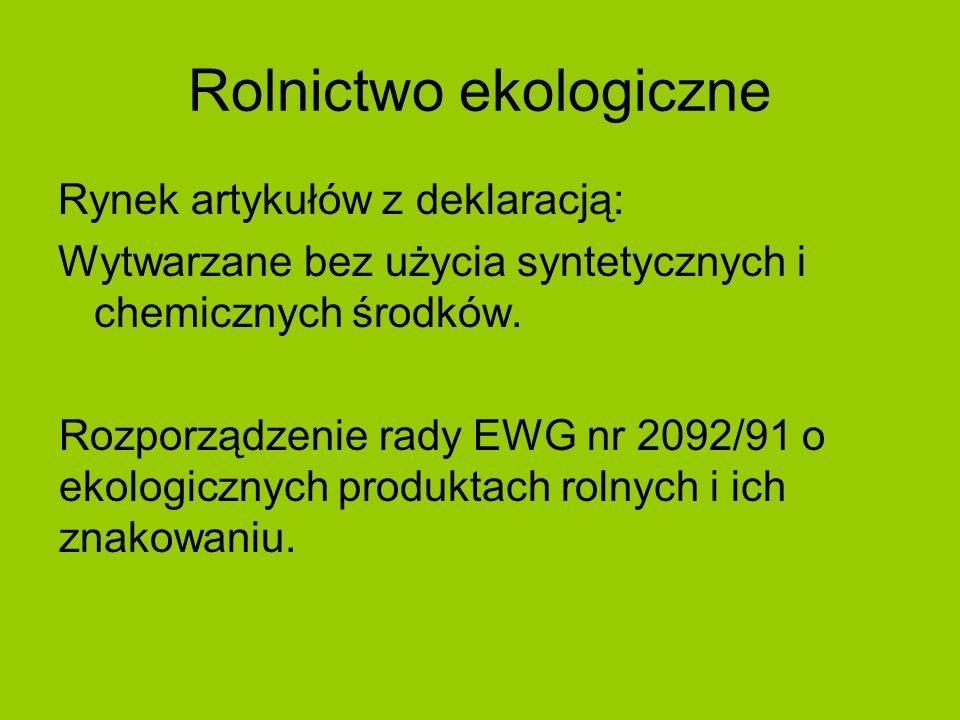 Rolnictwo ekologiczne Rynek artykułów z deklaracją: Wytwarzane bez użycia syntetycznych i chemicznych środków. Rozporządzenie rady EWG nr 2092/91 o ek