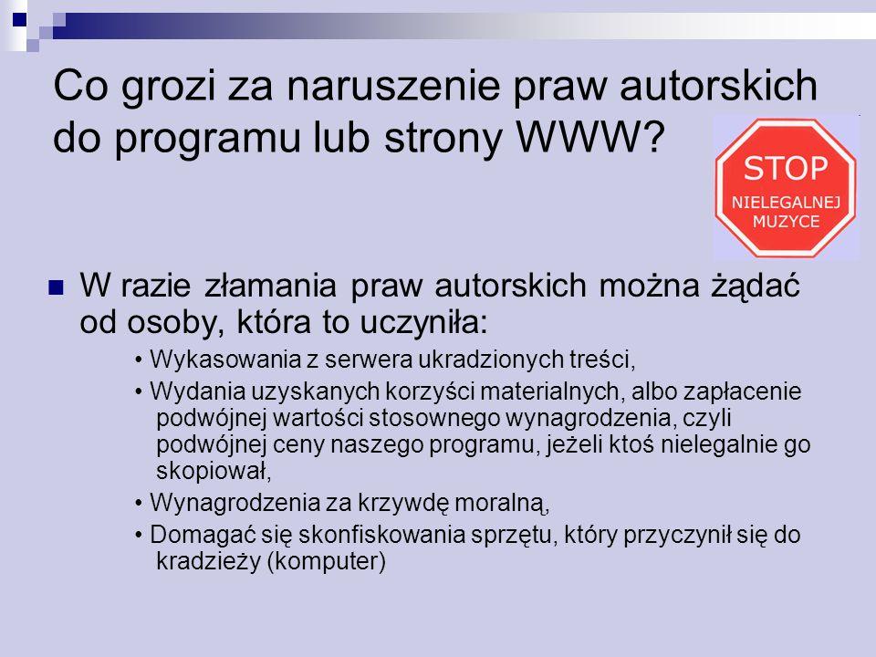 Co grozi za naruszenie praw autorskich do programu lub strony WWW? W razie złamania praw autorskich można żądać od osoby, która to uczyniła: Wykasowan