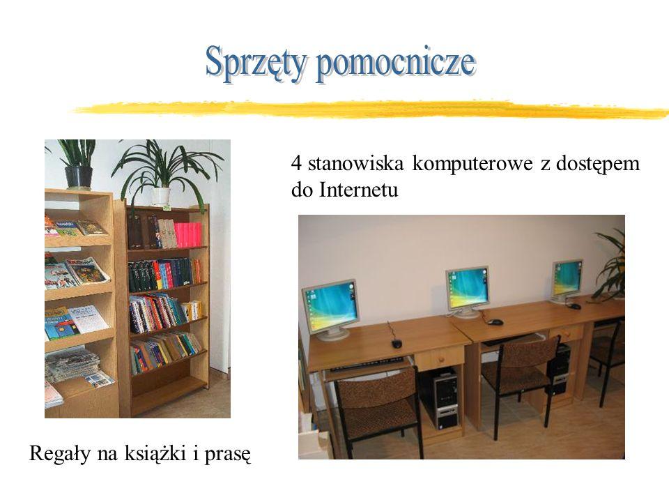 Regały na książki i prasę 4 stanowiska komputerowe z dostępem do Internetu