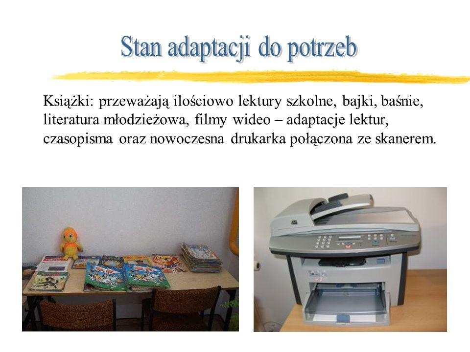 Katalogi kartkowe: alfabetyczne i rzeczowe, 4 stanowiska komputerowe z dostępem do Internetu.