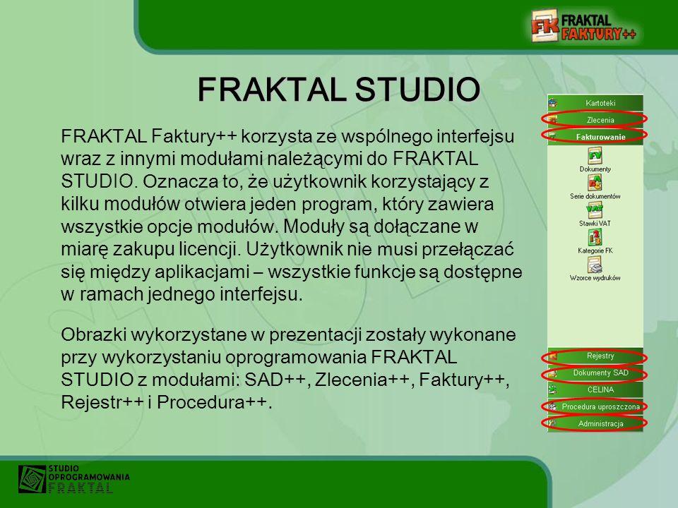 FRAKTAL STUDIO FRAKTAL F aktury++ korzysta ze wspólnego interfejsu wraz z innymi modułami należącymi do FRAKTAL STUDIO.