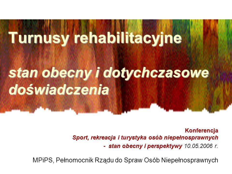Turnusy rehabilitacyjne stan obecny i dotychczasowe doświadczenia Turnusy rehabilitacyjne stan obecny i dotychczasowe doświadczenia Konferencja Sport,