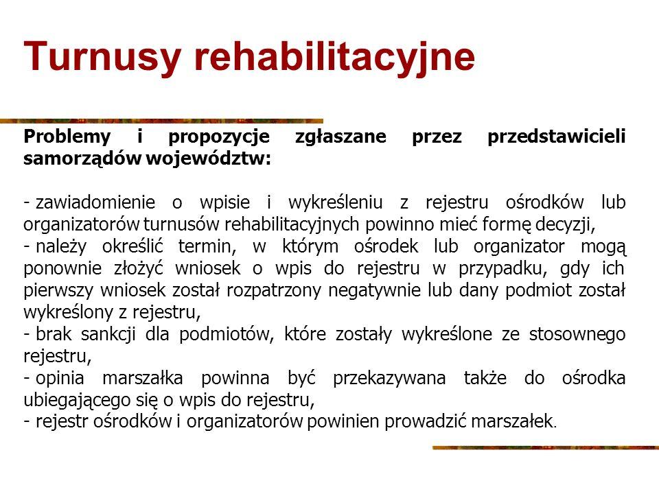 Turnusy rehabilitacyjne Problemy i propozycje zgłaszane przez przedstawicieli samorządów województw: - zawiadomienie o wpisie i wykreśleniu z rejestru
