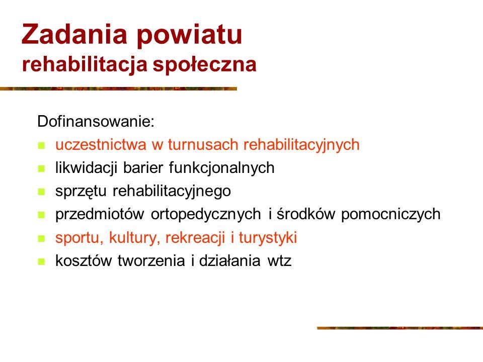 Zadania powiatu rehabilitacja społeczna Dofinansowanie: uczestnictwa w turnusach rehabilitacyjnych likwidacji barier funkcjonalnych sprzętu rehabilita