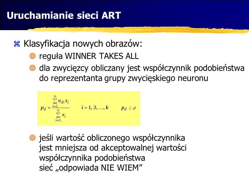 Uruchamianie sieci ART Klasyfikacja nowych obrazów: reguła WINNER TAKES ALL dla zwycięzcy obliczany jest współczynnik podobieństwa do reprezentanta gr