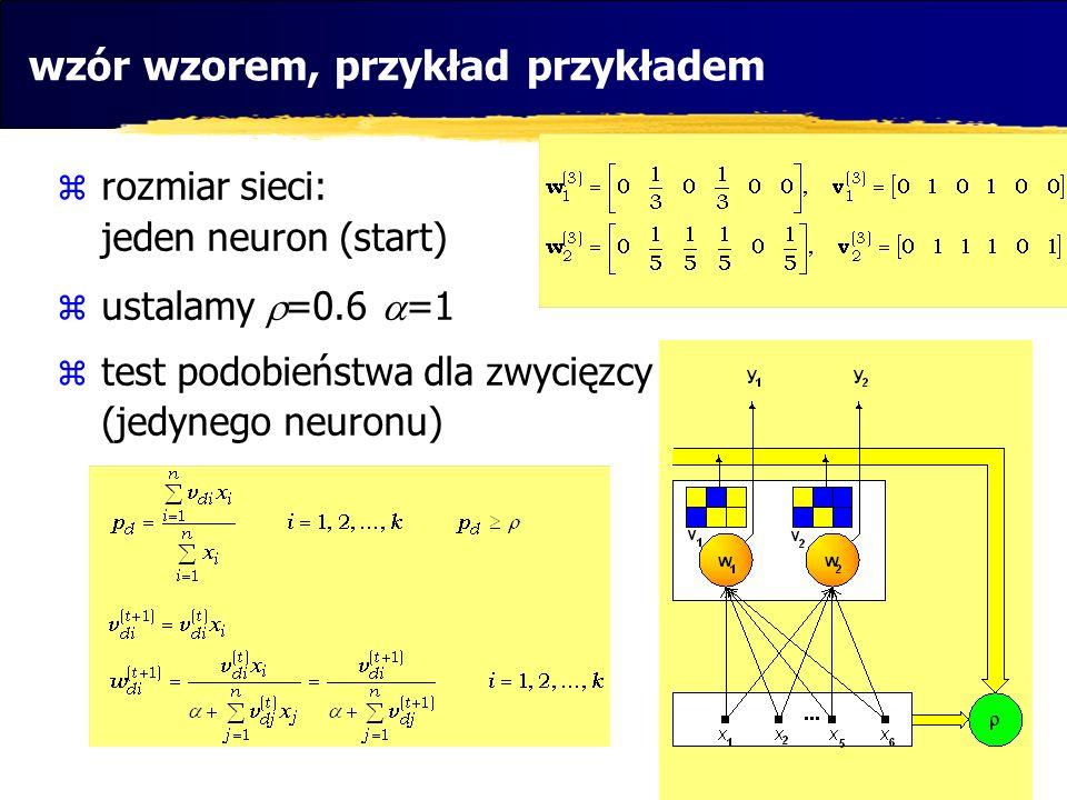 wzór wzorem, przykład przykładem rozmiar sieci: jeden neuron (start) ustalamy =0.6 =1 test podobieństwa dla zwycięzcy (jedynego neuronu)