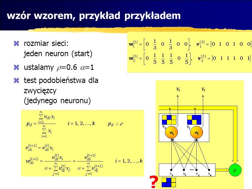 wzór wzorem, przykład przykładem rozmiar sieci: jeden neuron (start) ustalamy =0.6 =1 test podobieństwa dla zwycięzcy (jedynego neuronu) ?