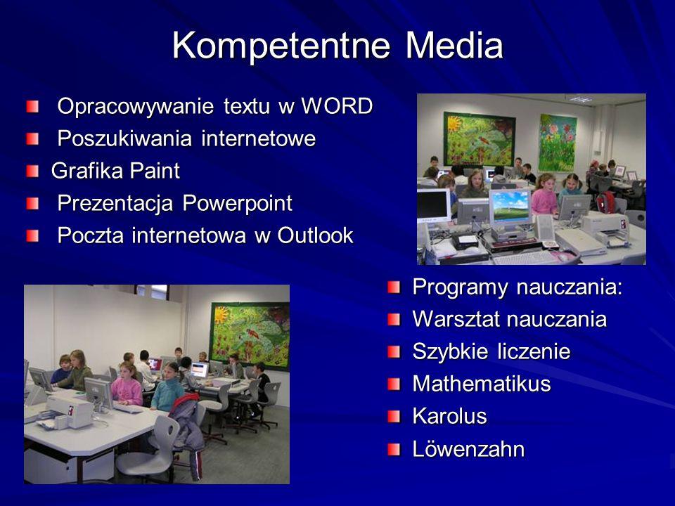 Kompetentne Media Opracowywanie textu w WORD Opracowywanie textu w WORD Poszukiwania internetowe Poszukiwania internetowe Grafika Paint Prezentacja Powerpoint Prezentacja Powerpoint Poczta internetowa w Outlook Poczta internetowa w Outlook Programy nauczania: Warsztat nauczania Szybkie liczenie MathematikusKarolusLöwenzahn