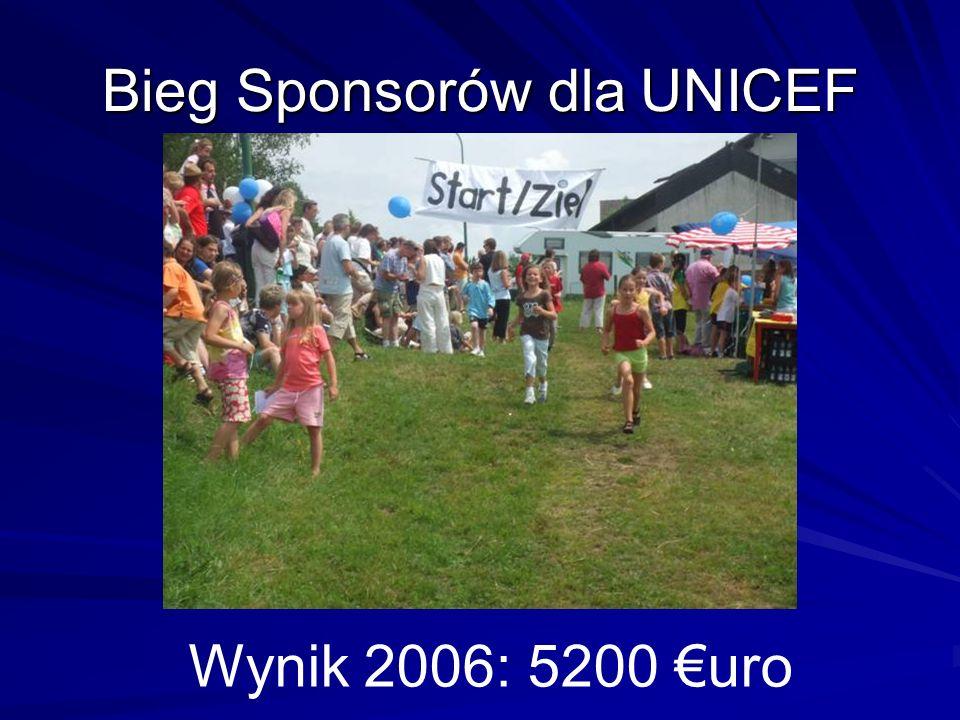 Bieg Sponsorów dla UNICEF Wynik 2006: 5200 uro