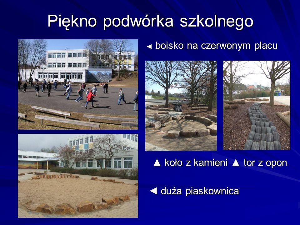 Piękno podwórka szkolnego boisko na czerwonym placu boisko na czerwonym placu koło z kamieni tor z opon koło z kamieni tor z opon duża piaskownica duża piaskownica